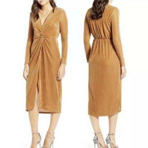 All In Favor Gold Velvet Ribbed Twisted Dress